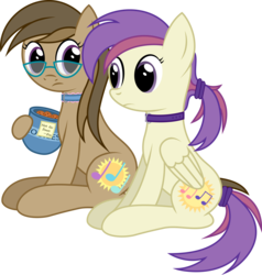 Size: 2765x2899 | Tagged: safe, artist:joey, derpibooru exclusive, oc, oc only, oc:dawnsong, oc:evensong, earth pony, pegasus, pony, 2020 community collab, caught, collar, cookie, cookie jar, female, food, glasses, hairband, looking at each other, ponytail, transparent background