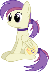 Size: 1900x2798 | Tagged: safe, artist:joey, derpibooru exclusive, oc, oc:evensong, pegasus, pony, collar, female, hairband, ponytail, show accurate, solo