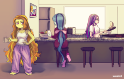 Size: 2244x1437 | Tagged: adagio dazzle, anime, apple, aria blaze, artist:ponut_joe, artist:weeird, banana, belly button, cellphone, coffee mug, equestria girls, family photo, female, food, kitchen, messy mane, midriff, mug, pancakes, phone, rainbow rocks, refrigerator, resting bitch face, safe, sonata dusk, source needed, the dazzlings, toaster, trio, useless source url