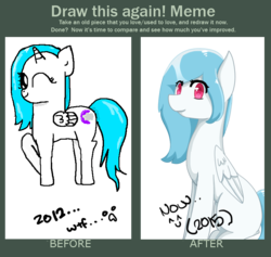 Size: 784x744 | Tagged: alicorn, alicorn oc, artist:wisheslotus, comparison, draw this again, female, mare, oc, oc only, oc:wishes, one eye closed, pegasus, pony, raised hoof, redraw, safe, simple background, sitting, smiling, transparent background, wink