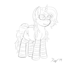 Size: 1800x1600 | Tagged: artist:kalashnikitty, black and white, blushing, bow, closet sub, clothes, cute, female, grayscale, lineart, mare, monochrome, oc, oc:optical illusion, pony, pretty, ruffled mane, safe, signature, sketch, socks, solo, someone boop this pony, striped socks, unicorn