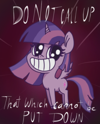 Size: 1125x1400 | Tagged: safe, artist:t72b, derpibooru exclusive, twilight sparkle, alicorn, pony, my little pony: pony life, demonic, female, grin, h.p. lovecraft, mare, pronking, smiling, solo, text, twilight sparkle (alicorn)
