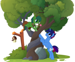 Size: 3190x2655 | Tagged: safe, artist:arche12, oc, oc:marquis majordome, oc:windy barebow evergreen, pegasus, pony, unicorn, arrow, bird house, bow (weapon), bow and arrow, commission, glasses, intertwined trees, plunger, quiver, simple background, transparent background, tree, weapon, ych result