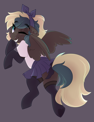 Size: 2160x2800 | Tagged: artist:crimmharmony, bow, clothes, ear piercing, female, gray background, headband, looking at you, looking back, looking back at you, mare, oc, oc:ephemeris, one eye closed, panties, pegasus, piercing, pony, pose, safe, shirt, simple background, skirt, socks, solo, spread wings, stockings, thigh highs, underwear, wings, wink