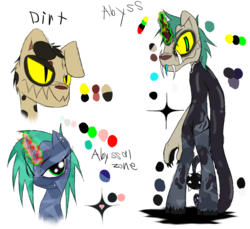 Size: 1200x1100 | Tagged: anthro, anthro with ponies, artist:didun850, bust, colored horn, crystal pony, curved horn, dark magic, diamond dog, diamond dog oc, fangs, female, fusion, glowing horn, horn, magic, male, mare, oc, oc:abyssal zone, oc:dirt, pony, reference sheet, safe, simple background, slit eyes, sombra's horn, story included, transparent background, unguligrade anthro, unicorn, unshorn fetlocks