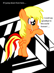 Size: 988x1330 | Tagged: safe, artist:avchonline, oc, oc only, oc:sean, pegasus, pony, colt, crying, male, pegasus oc, rearing, sad, solo, speech, suicidal, wings