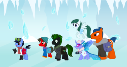 Size: 3178x1696 | Tagged: artist:shadymeadow, changedling, changeling, earth pony, female, ice, jakcet, male, mare, oc, oc:dojo slam, oc:fried egg, oc:professor jolt, oc:snowbelle treefrost, pegasus, pony, saddle bag, safe, stallion, unicorn