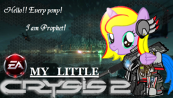 Size: 1920x1080 | Tagged: alicorn, alicorn oc, armor, artist:avchonline, crossover, crysis, ea, female, filly, grin, gun, helicopter, jewelry, necklace, oc, oc only, oc:princess lucyan, pony, safe, smiling, solo, weapon