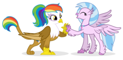 Size: 1280x623 | Tagged: safe, artist:shizow, silverstream, oc, oc:rainbow feather, classical hippogriff, griffon, hippogriff, cute, duo, eyes closed, female, high five, interspecies offspring, magical lesbian spawn, offspring, parent:gilda, parent:rainbow dash, parents:gildash, vector