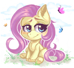 Size: 1293x1200 | Tagged: safe, artist:falafeljake, fluttershy, butterfly, pegasus, pony, my little pony: pony life, chest fluff, cute, ear fluff, female, grass, hoof fluff, lidded eyes, looking at you, looking away, mare, raised eyebrow, shyabetes, sitting, smiling, solo, unshorn fetlocks, wingless