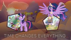 Size: 1920x1080 | Tagged: safe, artist:digimonlover101, artist:elfiqa, artist:estories, edit, twilight sparkle, alicorn, pony, the last problem, apple, apple tree, big crown thingy 2.0, canterlot, flying, golden oaks library, mountain, ponyville, princess twilight 2.0, self ponidox, sun, time paradox, tree, twilight sparkle (alicorn), wallpaper, wallpaper edit