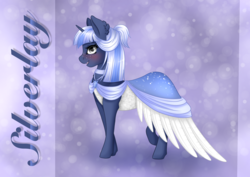 Size: 4093x2894 | Tagged: artist:nuumia, blushing, clothes, dress, female, freckles, gala dress, mare, oc, oc only, oc:silverlay, pony, safe, solo, unicorn