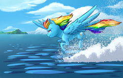 Size: 2620x1680 | Tagged: artist:lorenz3, artist:notaletolivefor, flying, ocean, rainbow dash, running, safe, water