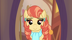 Size: 1280x720 | Tagged: safe, screencap, aunt holiday, earth pony, pony, the last crusade, spoiler:s09e12, clothes, ear piercing, earring, female, jewelry, mare, piercing, scarf, solo