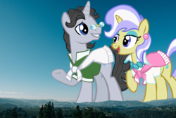 Size: 1920x1280 | Tagged: female, giantess, giant pony, highrise ponies, irl, jet set, macro, male, mountain, mountain range, photo, ponies in real life, pony, safe, shipping, straight, unicorn, upper crust, upperset