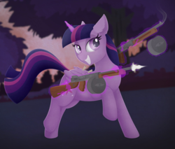 Size: 2732x2325   Tagged: safe, artist:allyster-black, twilight sparkle, alicorn, pony, drum magazine, female, gun, gunsmoke, levitation, magic, mare, muzzle flash, solo, telekinesis, this might end in pain, tommy gun, twilight sparkle (alicorn), weapon