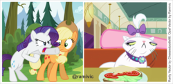 Size: 5478x2678 | Tagged: safe, artist:cheezedoodle96, artist:ramivic, applejack, opalescence, pinkie pie, rarity, angry, backdrop, cheese, diner, food, forest, hat, lettuce, meme, sandwich, show accurate, sneer, tomato, vector, woman yelling at a cat