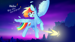 Size: 2560x1440 | Tagged: artist:fuzzypones, blushing, blush sticker, colored, evening sky, female, flying, in air, mountain, mountain range, rainbow dash, safe, smiling, solo, text