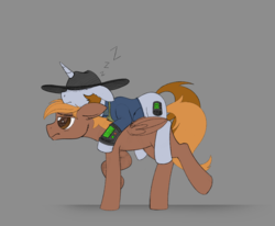 Size: 2332x1926 | Tagged: safe, artist:allyster-black, oc, oc only, oc:calamity, oc:littlepip, pegasus, pony, unicorn, fallout equestria, bags under eyes, carrying, clothes, cowboy hat, cute, dashite, fanfic, fanfic art, female, floppy ears, hat, hooves, horn, male, mare, onomatopoeia, pipbuck, piplamity, ponies riding ponies, riding, simple background, sleeping, sound effects, stallion, vault suit, wings, zzz