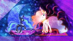 Size: 3840x2160 | Tagged: safe, artist:laszlvfx, artist:xebck, edit, princess celestia, princess luna, alicorn, pony, alternate hairstyle, duo, female, mare, rainbow power, royal sisters, wallpaper, wallpaper edit