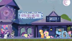 Size: 1231x712 | Tagged: 2021, a canterlot wedding, applejack, countdown, fluttershy, mane seven, mane six, my little pony: the movie (2020), pinkie pie, ponyclock, rainbow dash, rarity, safe, spike, testing testing 1-2-3, twilight sparkle