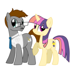 Size: 2000x2000 | Tagged: 2020 community collab, artist:蜘七, clothes, derpibooru community collaboration, duo, earth pony, glasses, looking at you, necktie, oc, oc:skyson, oc:sparkle lily, pony, safe, shipping, unicorn