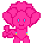 Size: 1080x1080 | Tagged: safe, artist:bravewind, pinkie pie, earth pony, pony, both cutie marks, commission, female, fluffy, mare, pixel art, pixelated, pixelated cutie mark, request, simple background, solo, transparent background
