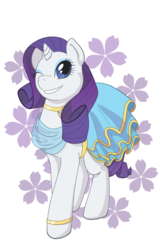 Size: 1280x1900 | Tagged: abstract background, artist:snownebula, bracelet, clothes, cute, dress, female, flower, jewelry, mare, one eye closed, pony, raribetes, rarity, safe, smiling, solo, unicorn, wink