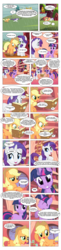 Size: 867x3570 | Tagged: safe, artist:dziadek1990, edit, edited screencap, screencap, applejack, rarity, twilight sparkle, comic:sunny day, look before you sleep, book, comic, conversation, dialogue, dungeons and dragons, fantasy class, golden oaks library, library, pen and paper rpg, rpg, screencap comic, slice of life, table, tabletop game, text, tree