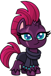 Size: 1009x1500 | Tagged: artist:cloudyglow, broken horn, chibi, clothes, cute, eye scar, female, fizzlepop berrytwist, horn, mare, my little pony: pony life, pony, robe, safe, scar, scarf, simple background, smiling, solo, tempest shadow, transparent background, unicorn