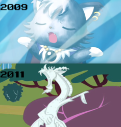 Size: 700x738 | Tagged: anime, artist:mega-poneo, cat, comparison, crossover, dian, discord, draconequus, edit, edited screencap, eyes closed, frozen, jewelpet, mega poneo strikes again, petrification, safe, screencap, the return of harmony