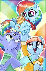 Size: 1325x2048 | Tagged: dead source, safe, artist:sophillia, bow hothoof, rainbow dash, windy whistles, pegasus, pony, 1st place, bowabetes, cute, dashabetes, family, female, filly, filly rainbow dash, male, mare, medal, open mouth, rainbow, smiling, stallion, trio, windybetes, younger