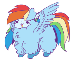 Size: 1280x1129 | Tagged: safe, artist:toksinblack, rainbow dash, alpaca, beady eyes, cute, dashabetes, female, fluffy, open mouth, simple background, solo, species swap, spread wings, white background, wings