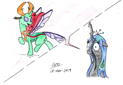 Size: 2472x1712 | Tagged: artist:gafelpoez, bob dylan, changedling, changeling, changeling queen, female, male, queen chrysalis, safe, the simpsons, thorax