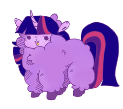 Size: 1280x1129 | Tagged: alpaca, artist:toksinblack, beady eyes, cute, female, fluffy, horn, open mouth, safe, simple background, solo, species swap, twiabetes, twilight sparkle, white background