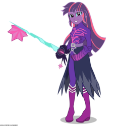 Size: 3633x4015 | Tagged: safe, artist:gamerpen, sci-twi, twilight sparkle, human, equestria girls, alternate hairstyle, clothes, crossover, disney, female, keyblade, kingdom hearts, midnight sparkle, simple background, solo, transparent background, video game crossover