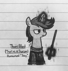 Size: 1950x2048 | Tagged: safe, artist:modocrisma, oc, oc only, oc:thori blast, pony, unicorn, fallout equestria, fanfic:vault 147, alternate universe, armor, au:v147, aura, baton, clothes, doodle, fallout, fanfic, fanfic art, horn, levitation, lined paper, magic, male, monochrome, pencil drawing, photo, rolled up sleeves, security guard, solo, telekinesis, traditional art, unamused, vault suit, vest, watermark, weapon