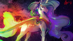 Size: 3000x1688 | Tagged: safe, artist:alumx, princess celestia, alicorn, pony, digital art, female, looking back, mare, signature, solo, space, wallpaper