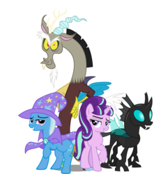 Size: 1889x2022 | Tagged: artist:bluetech, artist:cezaryy, artist:dashiesparkle, artist:misterlolrus, cape, changeling, clothes, discord, draconequus, female, hat, looking at you, looking left, male, mare, pony, reformed four, s5 starlight, safe, simple background, smiling, smiling at you, source needed, starlight glimmer, thorax, transparent background, trixie, trixie's cape, trixie's hat, unicorn, vector