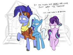 Size: 2400x1800 | Tagged: artist:rocket-lawnchair, caption, female, hoo'far, hoo'far's wagon, male, road to friendship, safe, starlight glimmer, trixie, trixie's wagon, unicorn