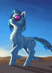 Size: 1000x1400 | Tagged: artist:eqlipse, dj pon-3, evening, female, happy, mare, painterly, pony, safe, solo, sunglasses, unicorn, vinyl scratch