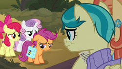 Size: 1280x720 | Tagged: safe, screencap, apple bloom, aunt holiday, auntie lofty, scootaloo, sweetie belle, pony, the last crusade, spoiler:s09e12, cutie mark crusaders
