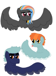 Size: 772x1035 | Tagged: safe, artist:dexterousdecarius, oc, oc:buster, oc:cloud buster, pegasus, pony, ambiguous gender, brother and sister, female, male, mare, offspring, parent:rainbow dash, parent:thunderlane, parents:thunderdash, pegasus oc, siblings, simple background, spread wings, stallion, tongue out, transparent background, two toned wings, wings