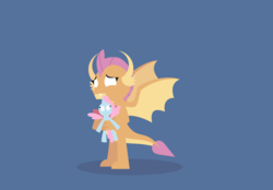 Size: 3055x2125 | Tagged: safe, artist:gd_inuk, ocellus, smolder, dragon, blank eyes, blue background, doll, dragoness, empty eyes, female, lineless, no pupils, sad, simple background, solo, standing, stylized, toy, wings