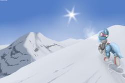 Size: 3000x2000 | Tagged: artist:tarantuloo, clothes, male, mountain, oc, pony, safe, snow