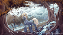 Size: 4800x2700 | Tagged: artist:moonlightstrange, cloud, cloudy, female, full color, looking up, mare, oc, oc:blasting cap, oc only, outdoors, pony, rain, safe, solo, standing, tree, unicorn, wet, ych result