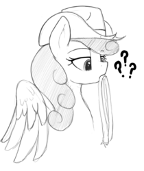 Size: 601x717   Tagged: safe, artist:anearbyanimal, strawberry sunrise, pegasus, pony, /mlp/, cowboy hat, cute, female, hat, lasso, lidded eyes, mare, monochrome, question mark, rope, simple background, solo, stetson, white background, wings