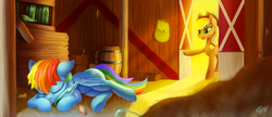 Size: 2254x973 | Tagged: source needed, safe, artist:gouransion, applecore, applejack, rainbow dash, pony, bag, barn, barrel, bottle, cute, dashabetes, drink, duo, duo female, female, mare, sleeping, tongue out