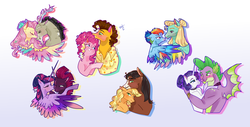 Size: 5894x3000 | Tagged: safe, artist:bunnari, applejack, cheese sandwich, discord, fluttershy, pinkie pie, rainbow dash, rarity, spike, tempest shadow, trouble shoes, twilight sparkle, zephyr breeze, alicorn, draconequus, dragon, earth pony, pegasus, pony, unicorn, blushing, broken horn, cheesepie, choker, clothes, discoshy, eye contact, eye scar, eyes closed, female, horn, lesbian, looking at each other, male, mane seven, mane six, mare, one eye closed, prosthetic horn, prosthetics, scar, shipping, shirt, simple background, sparity, stallion, straight, tempest gets her horn back, tempestlight, troublejack, twilight sparkle (alicorn), white background, winged spike, zephdash
