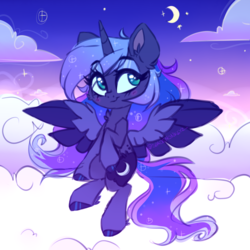 Size: 2200x2200 | Tagged: safe, artist:_spacemonkeyz_, princess luna, alicorn, pony, blushing, cheek fluff, chibi, cloud, colored hooves, crescent moon, cute, female, flying, high res, leg fluff, lunabetes, mare, moon, night, simple background, sky, solo, stars, transparent background, two toned wings, wings